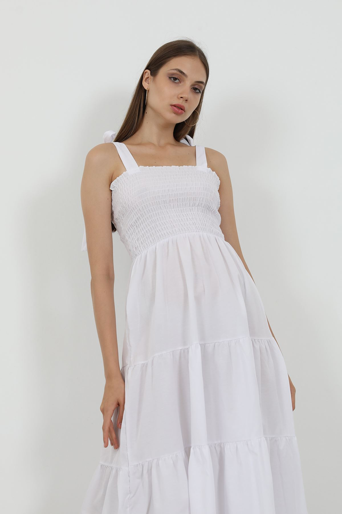 Gipeli Uzun Elbise-Beyaz
