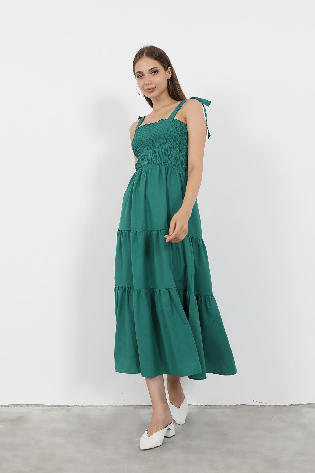 Gipeli Uzun Elbise-Yeşil