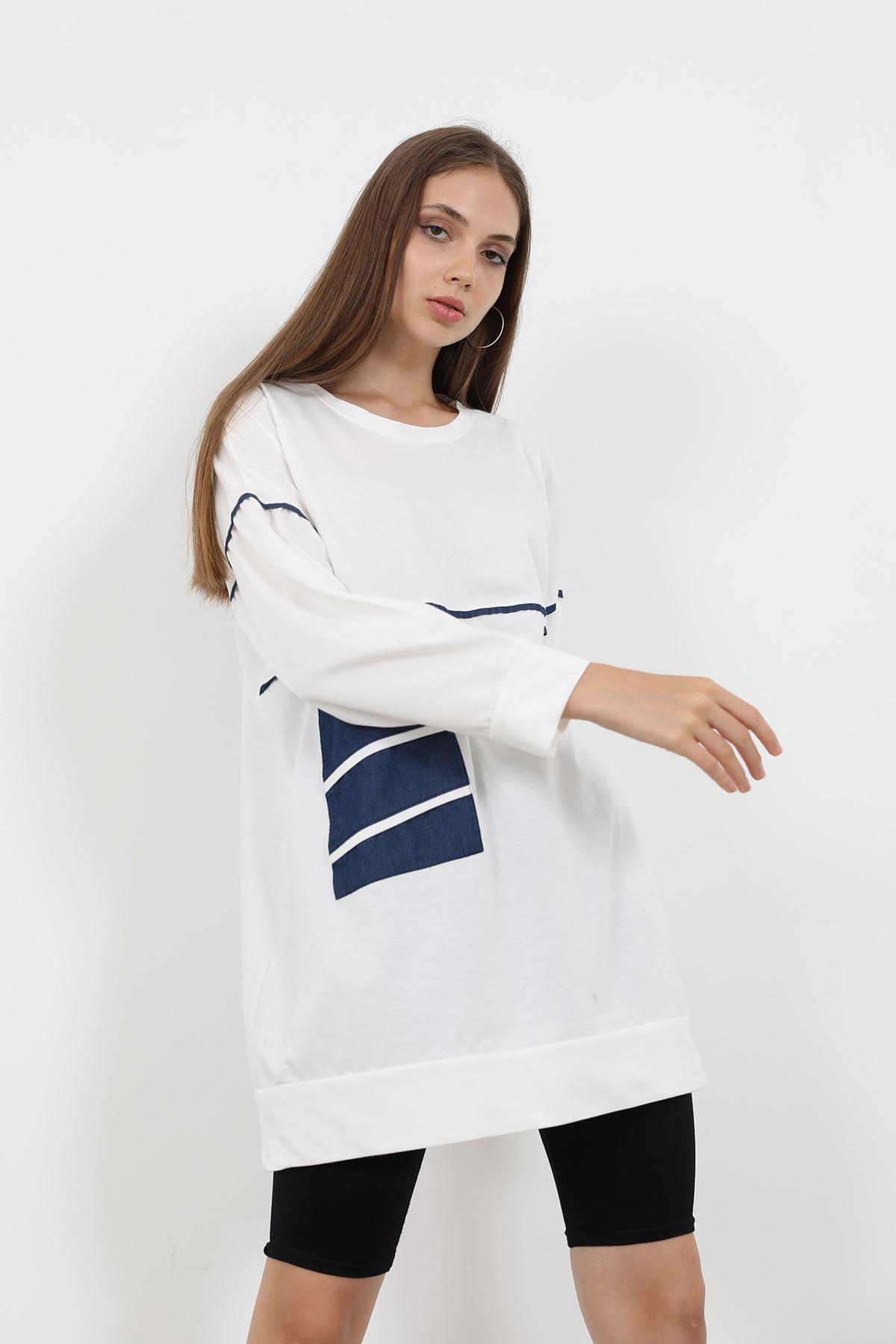 Cep Detay Sweatshirt-Ekru