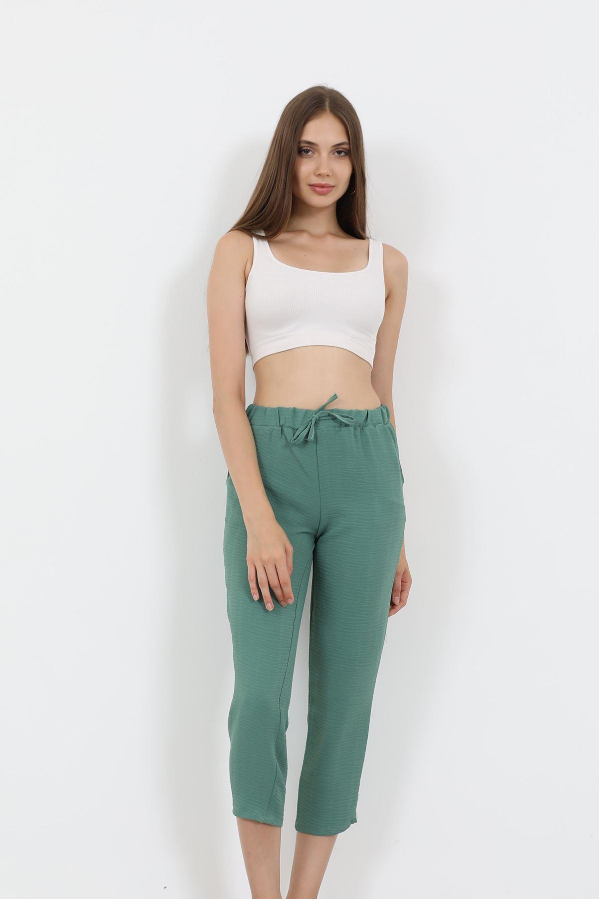 Beli Lastikli Pantolon-Mint