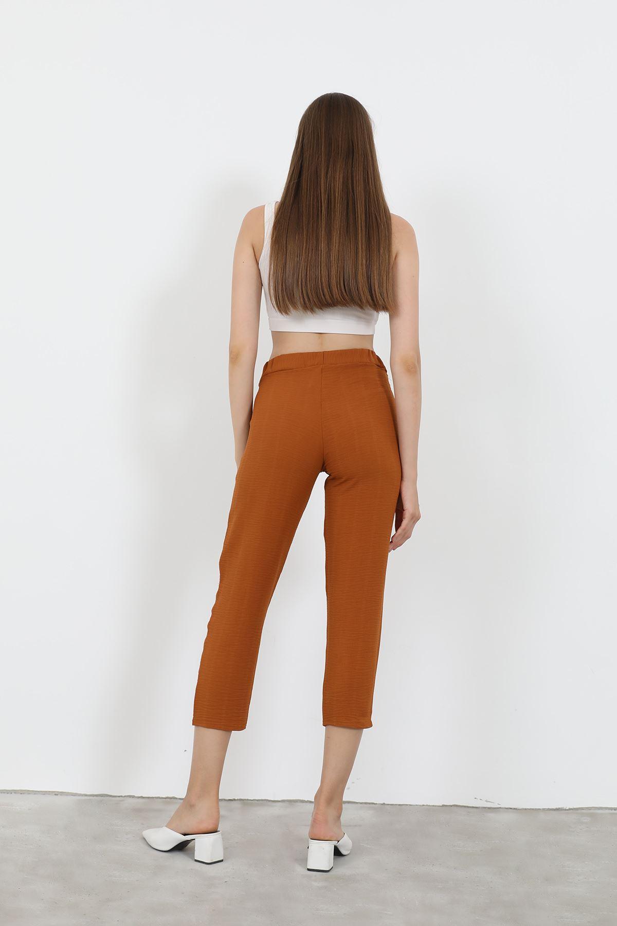 Beli Lastikli Pantolon-Kiremit