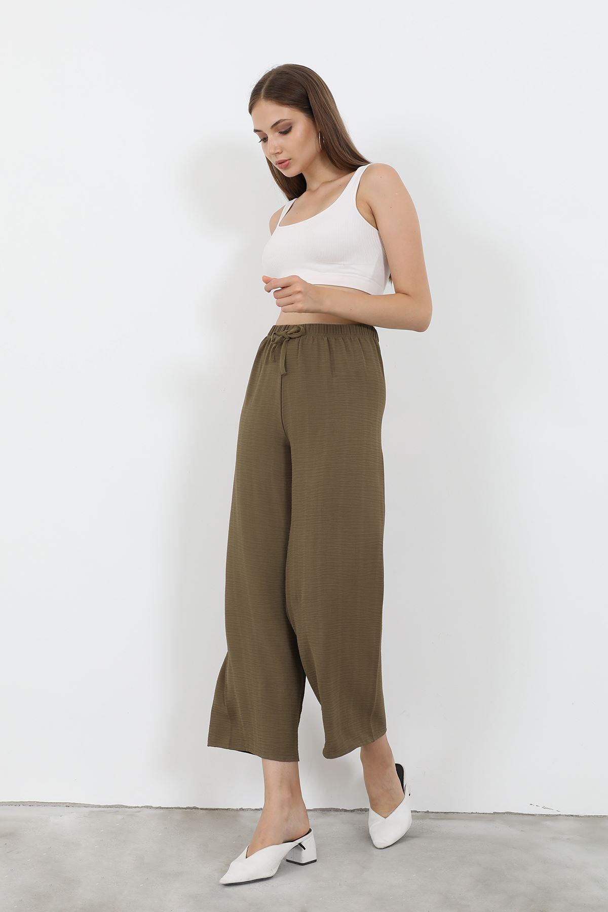 Beli Lastikli Bol Paça Pantolon-Haki