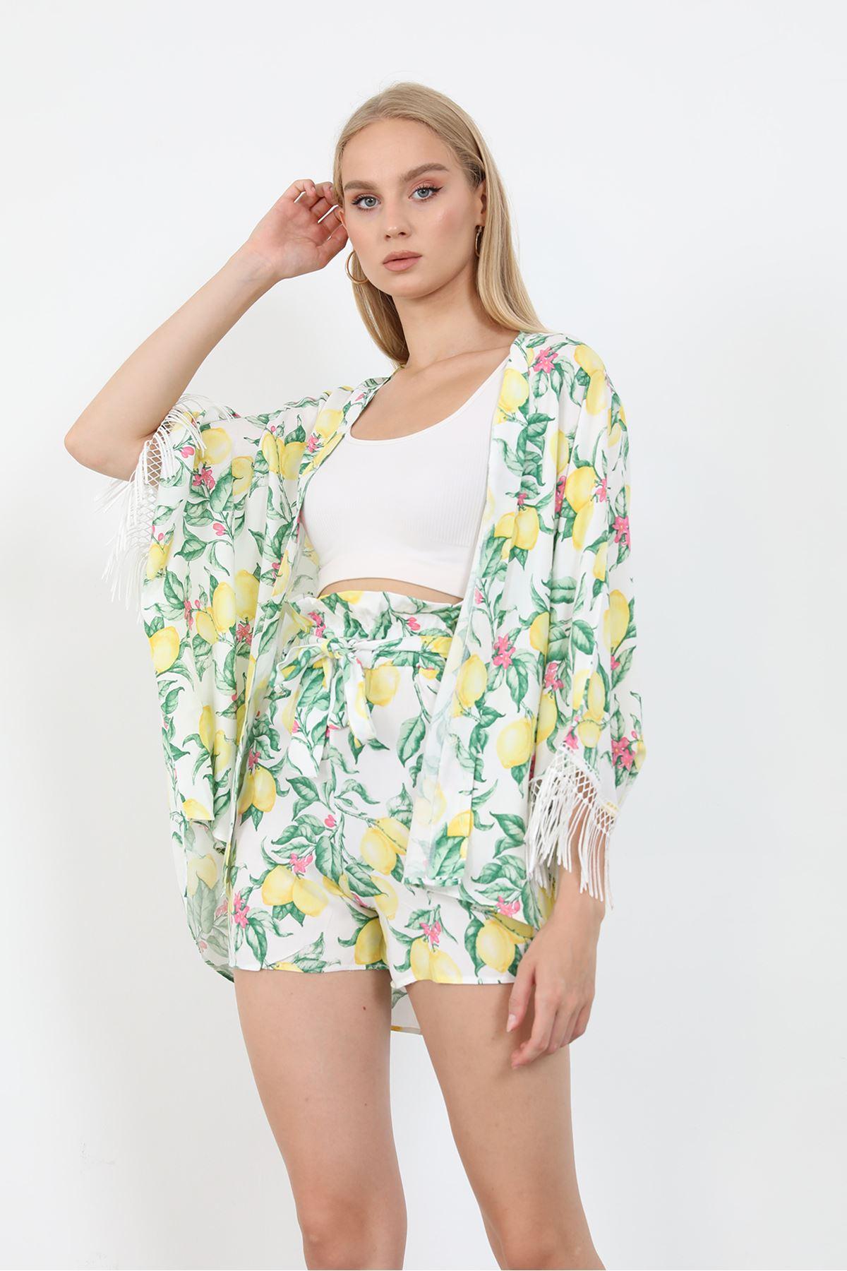 Desenli Kimono Takım-Beyaz
