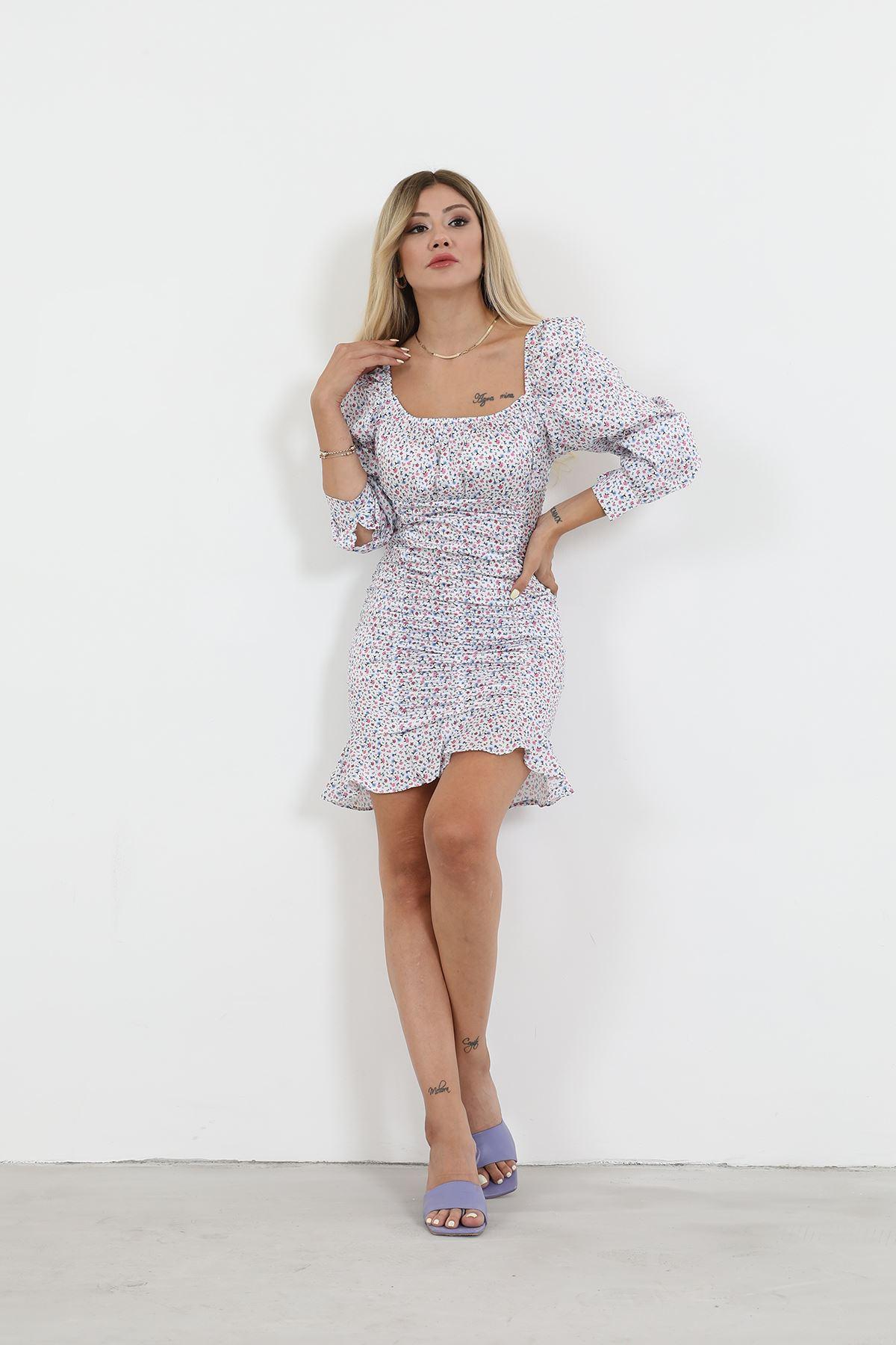 Desenli Büzgülü Elbise-Beyaz