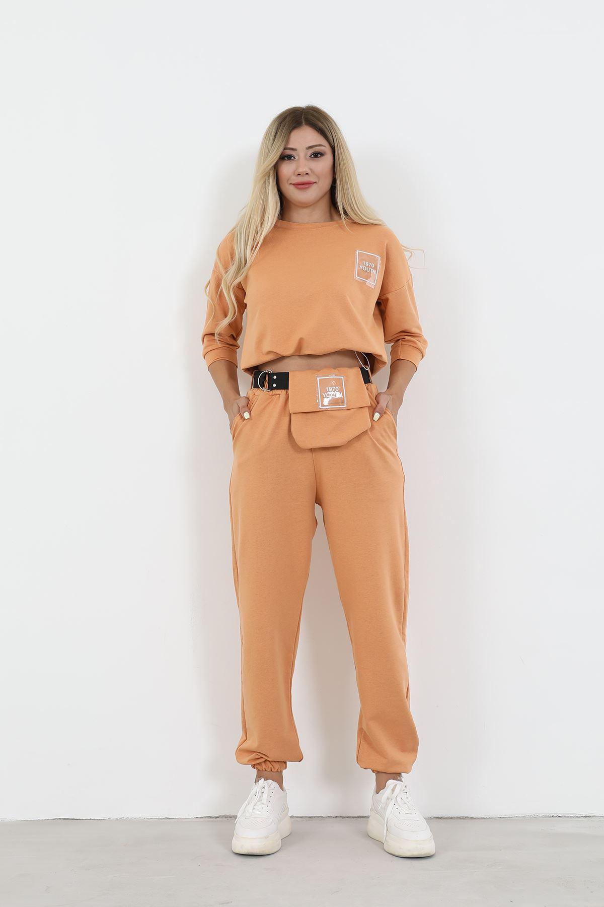 Çantalı Eşofman Takım-Oranj