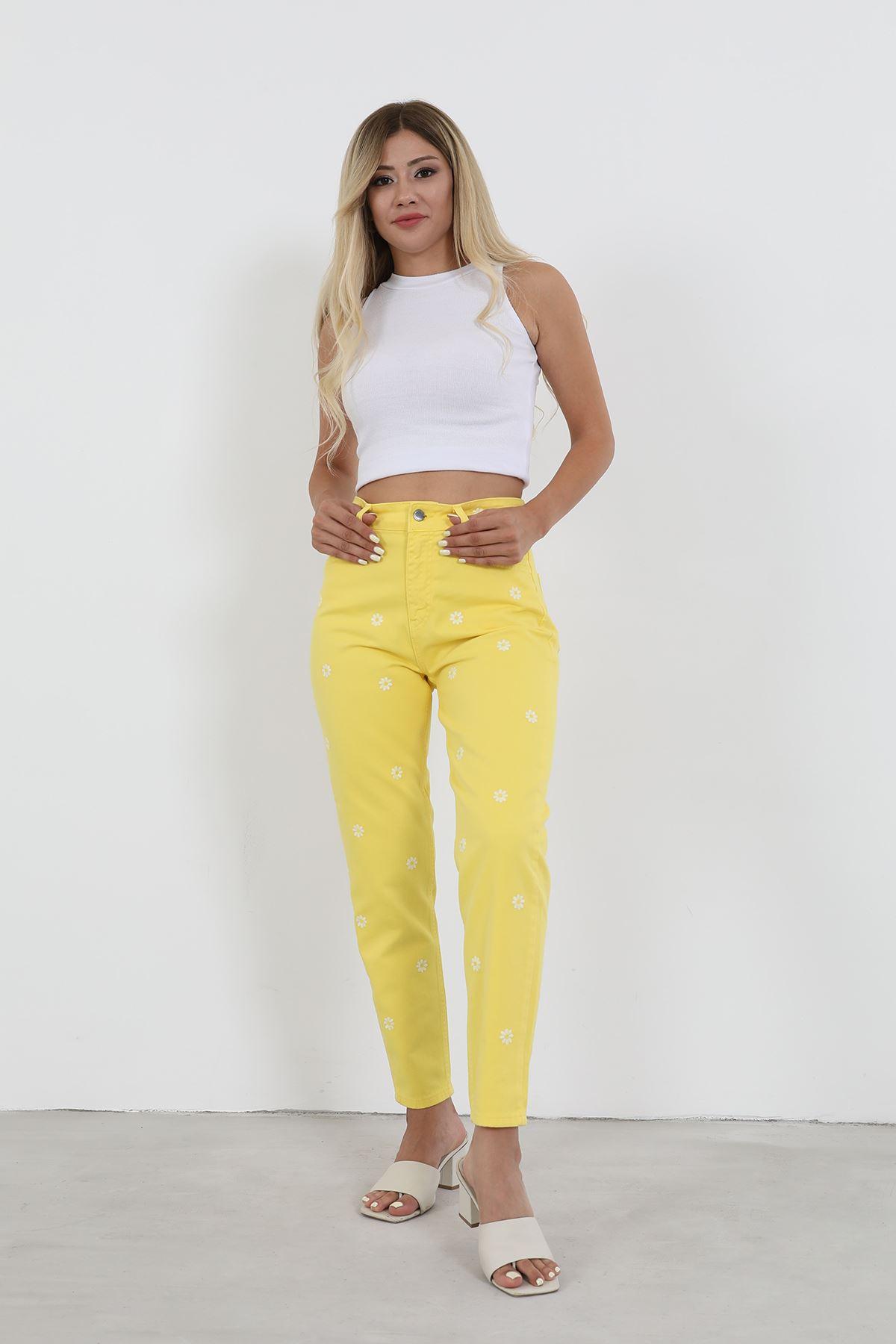 Papatya Desen Jean Pantolon-Sarı