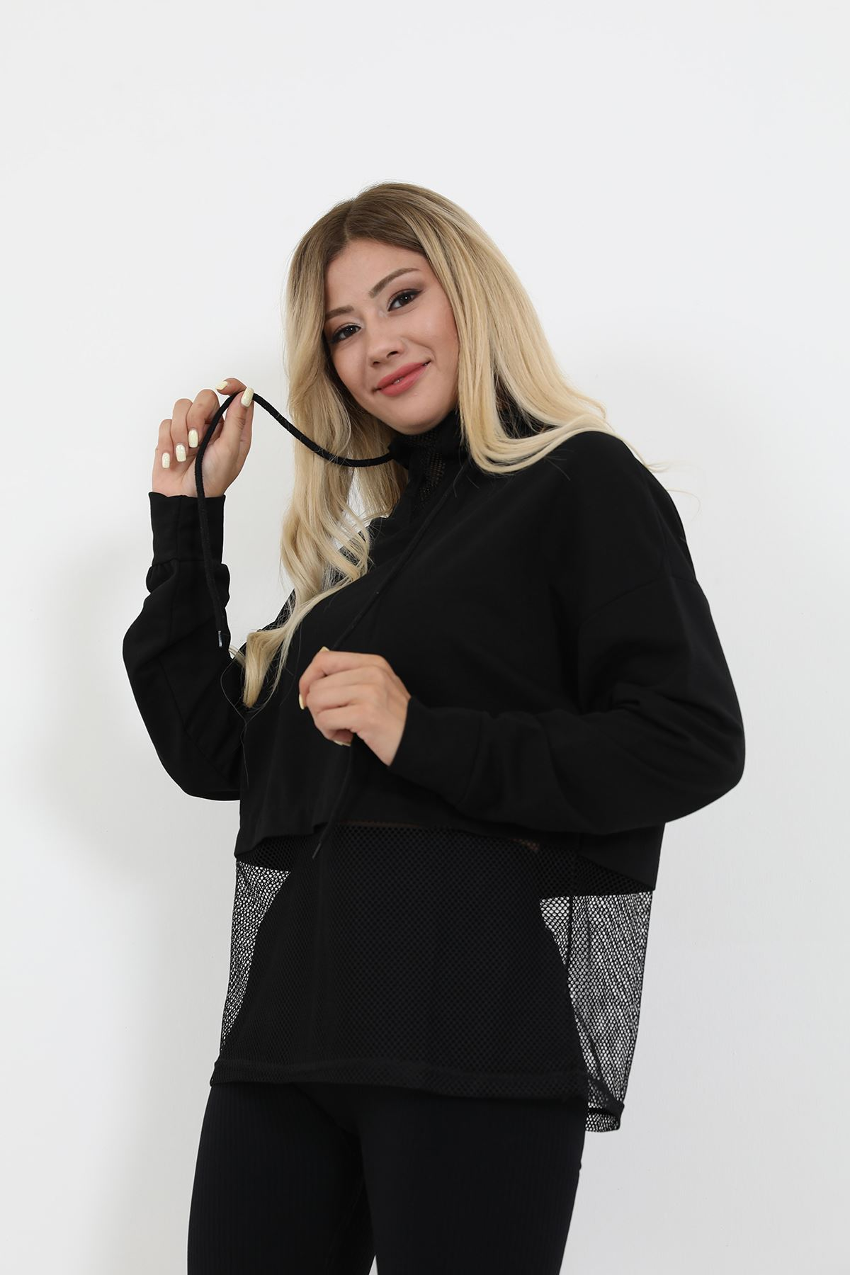 Fileli Sweatshirt-Siyah