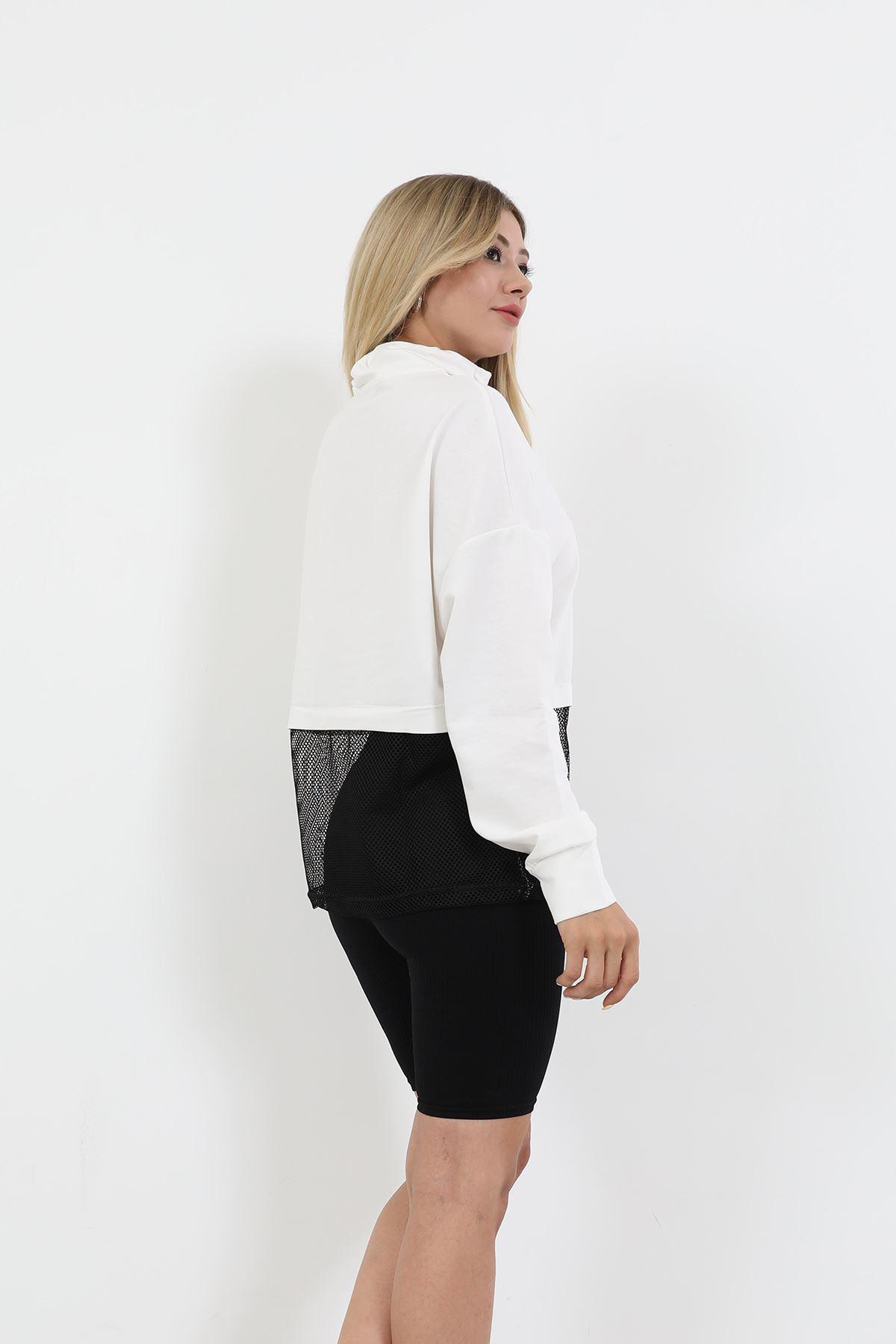 Fileli Sweatshirt-Beyaz
