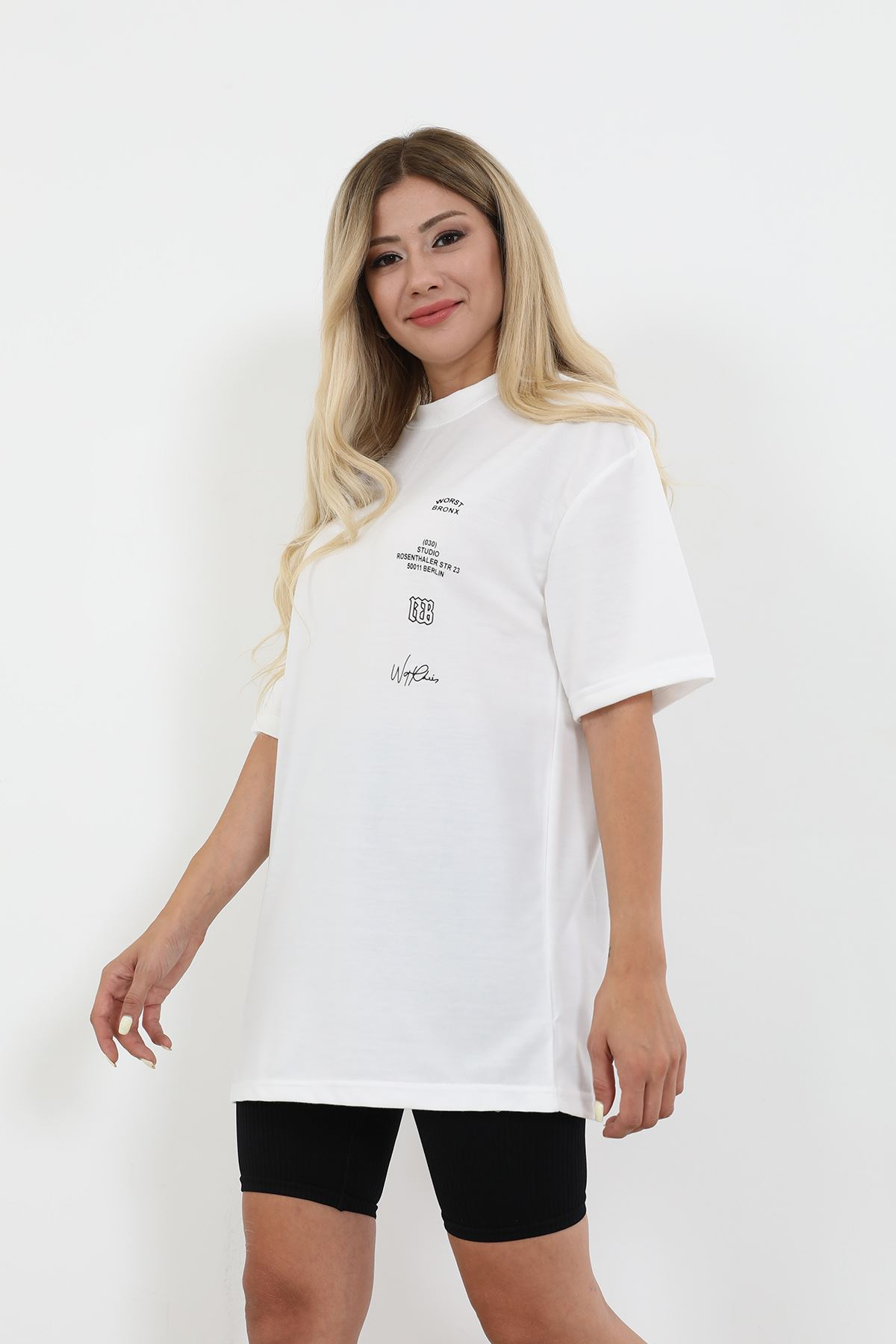 Baskılı T-shirt-Beyaz