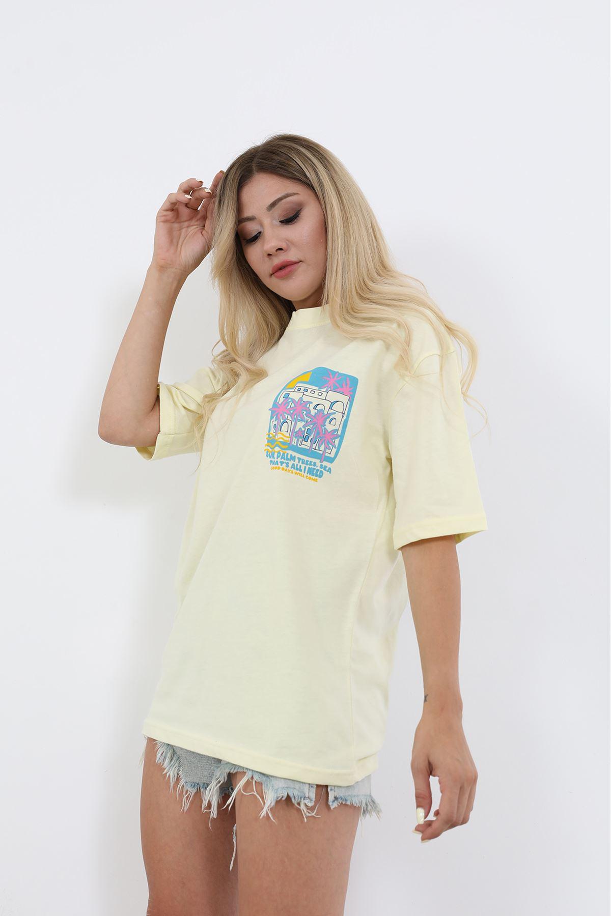 Sırt Baskılı T-shirt-Sarı