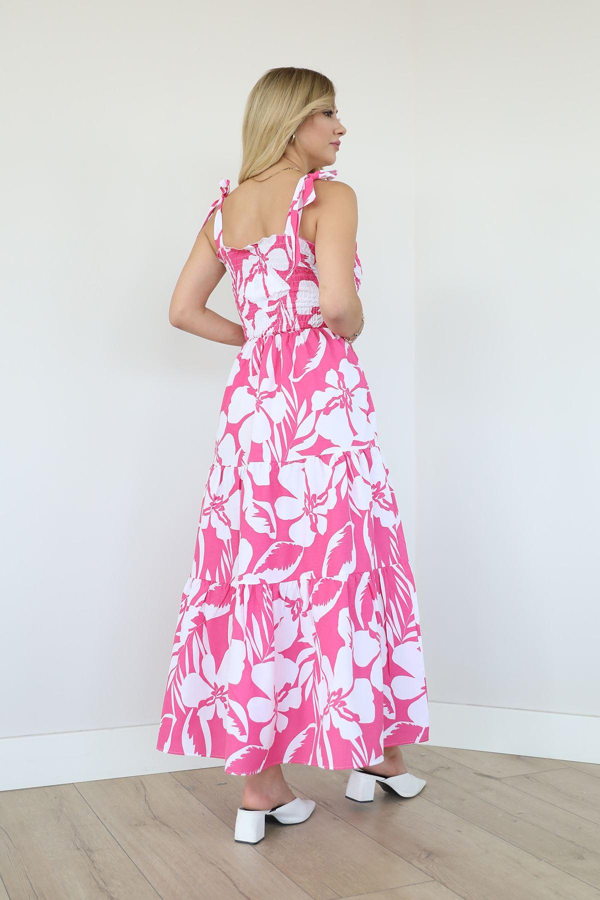 Desenli Poplin Elbise-Fuşya