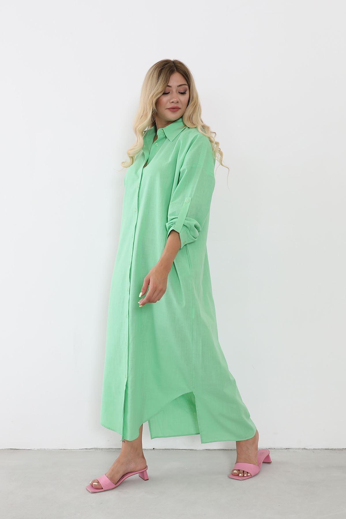 Polo Yaka Gömlek Elbise-Yeşil