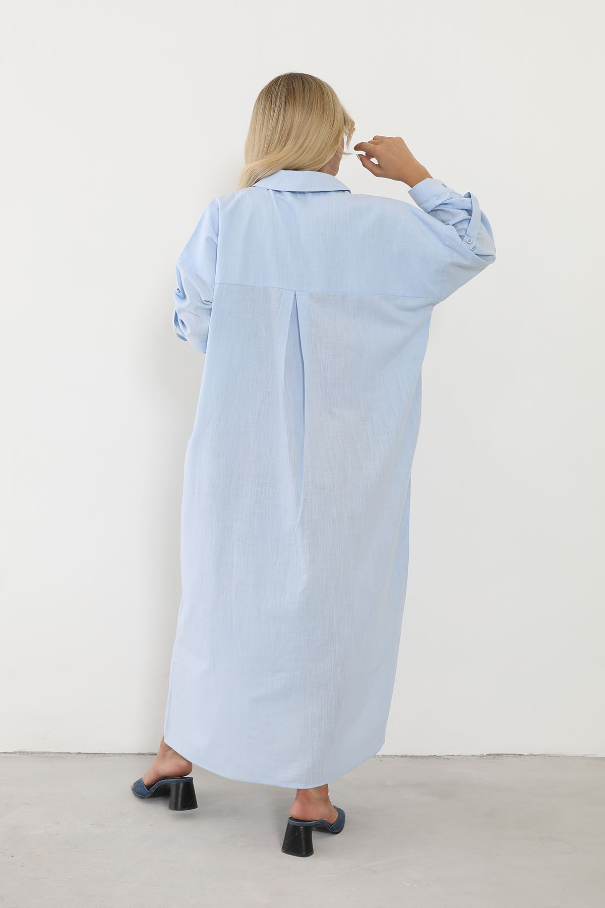 Polo Yaka Gömlek Elbise-Mavi