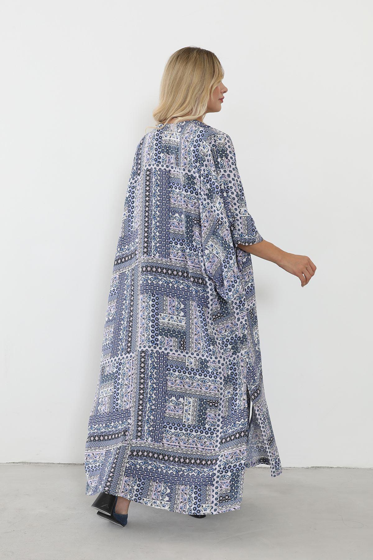 Vatkalı Kimono Takım-Lacivert