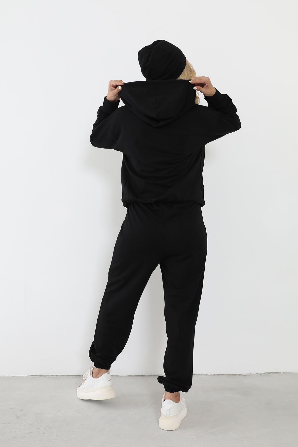 Şapkalı Eşofman Takım-Siyah