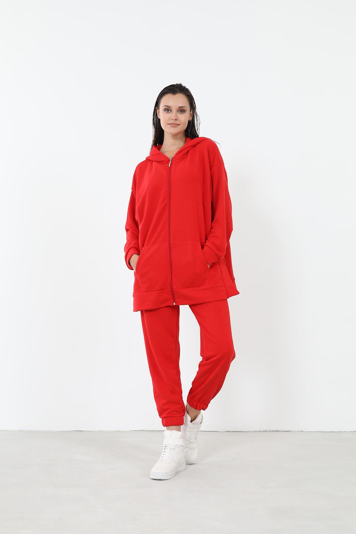 Fermuarlı Eşofman Takım-Kırmızı