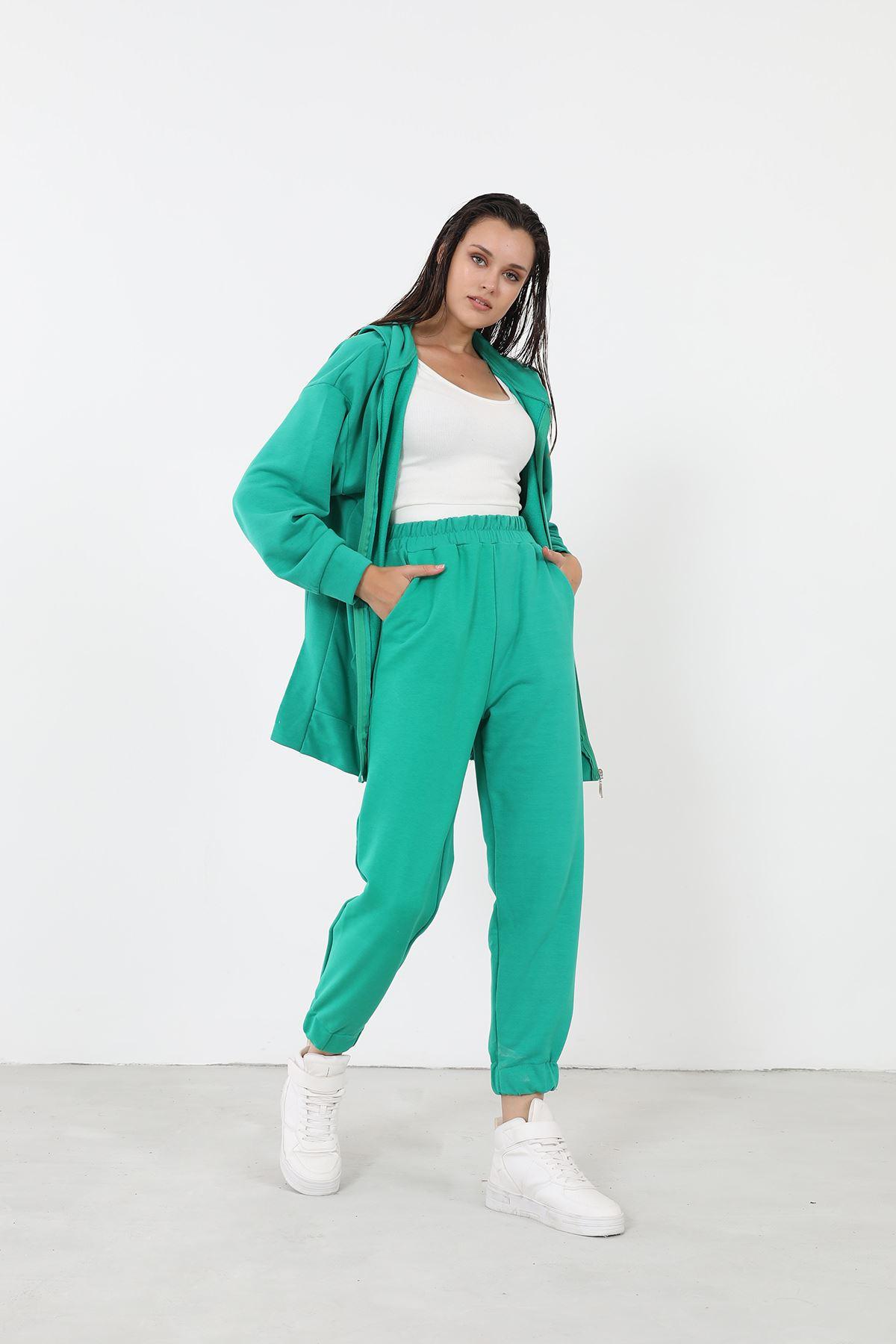 Fermuarlı Eşofman Takım-Yeşil