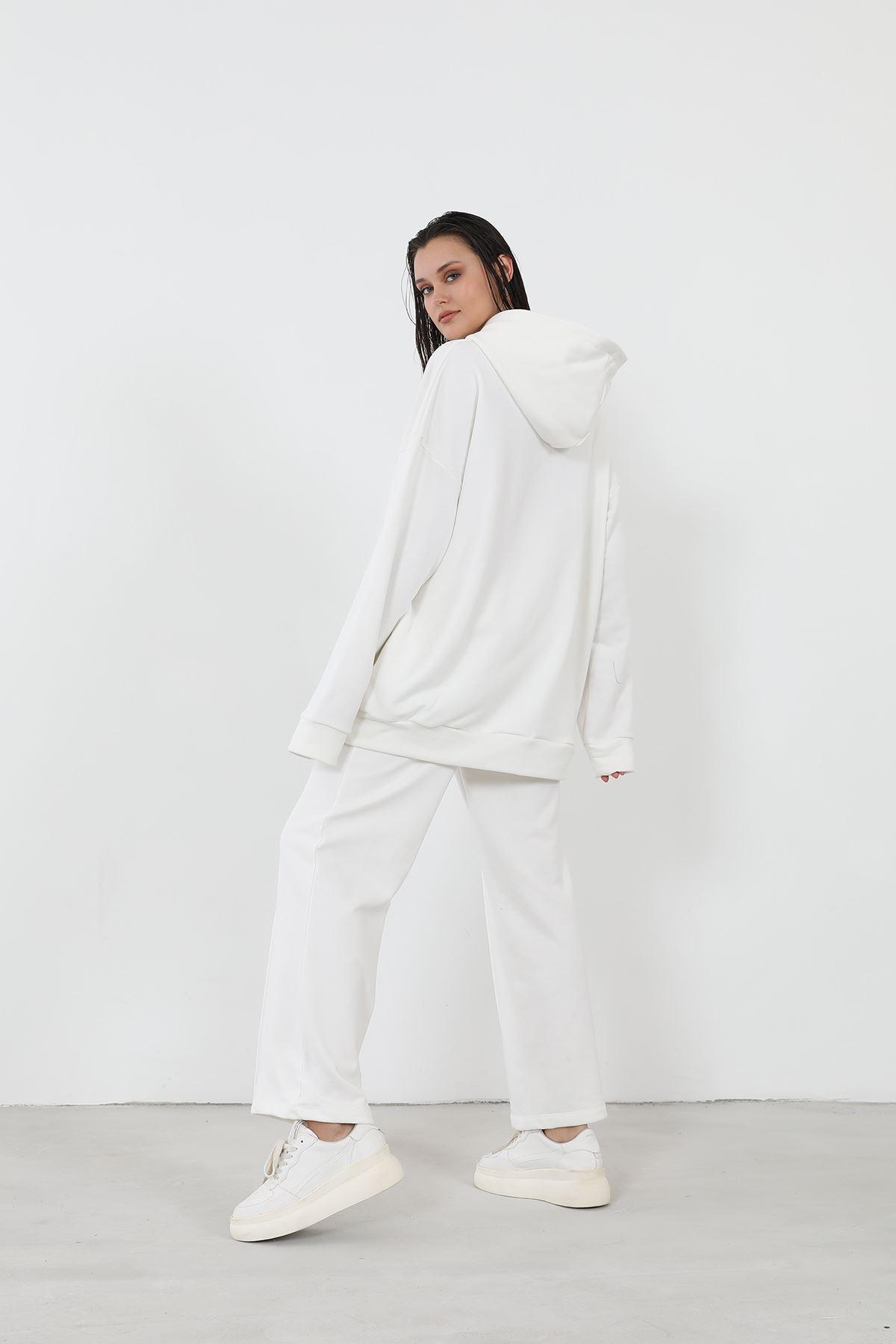 Kapşonlu Eşofman Takım-Beyaz