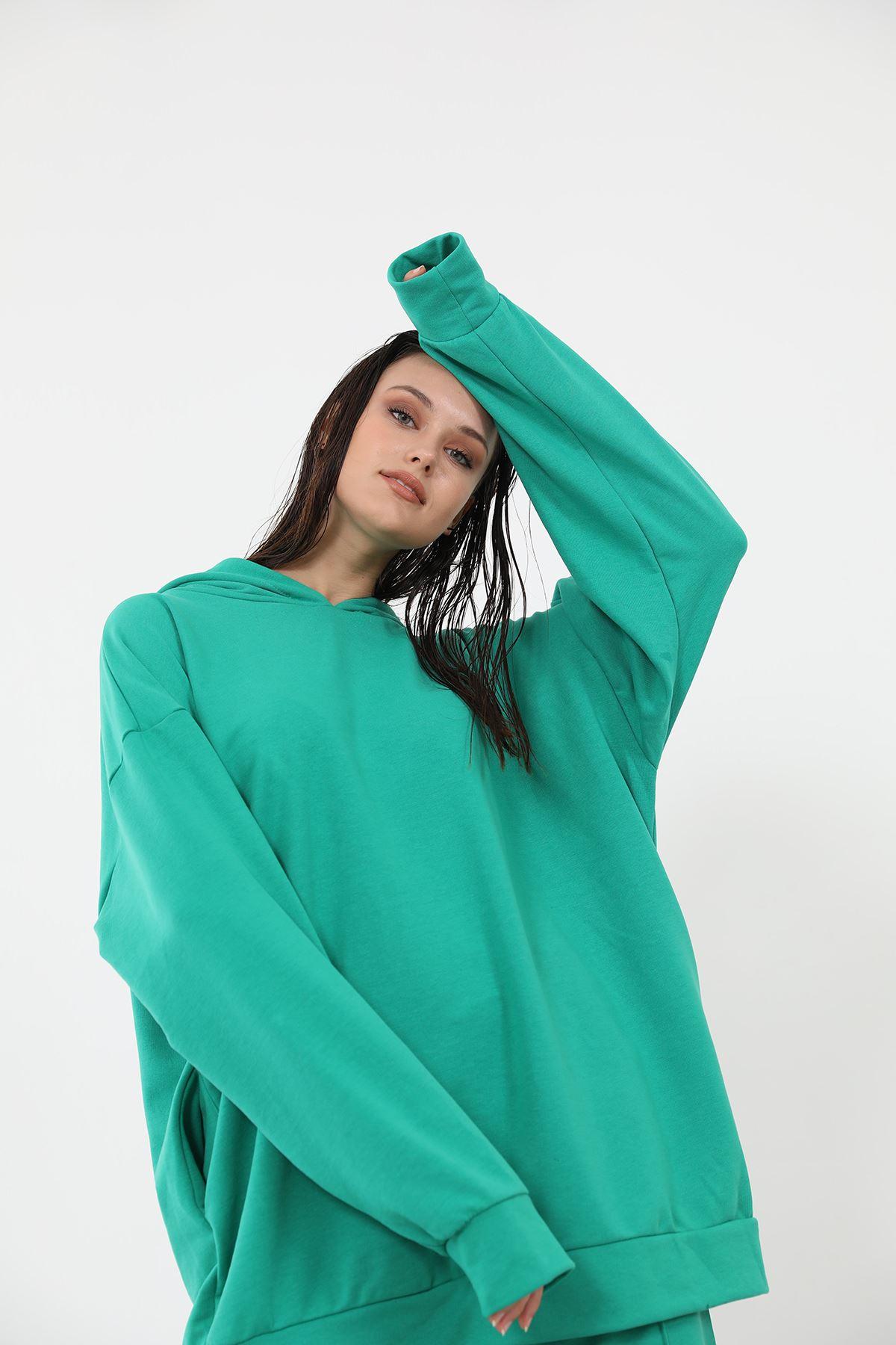 Kapşonlu Eşofman Takım-Yeşil