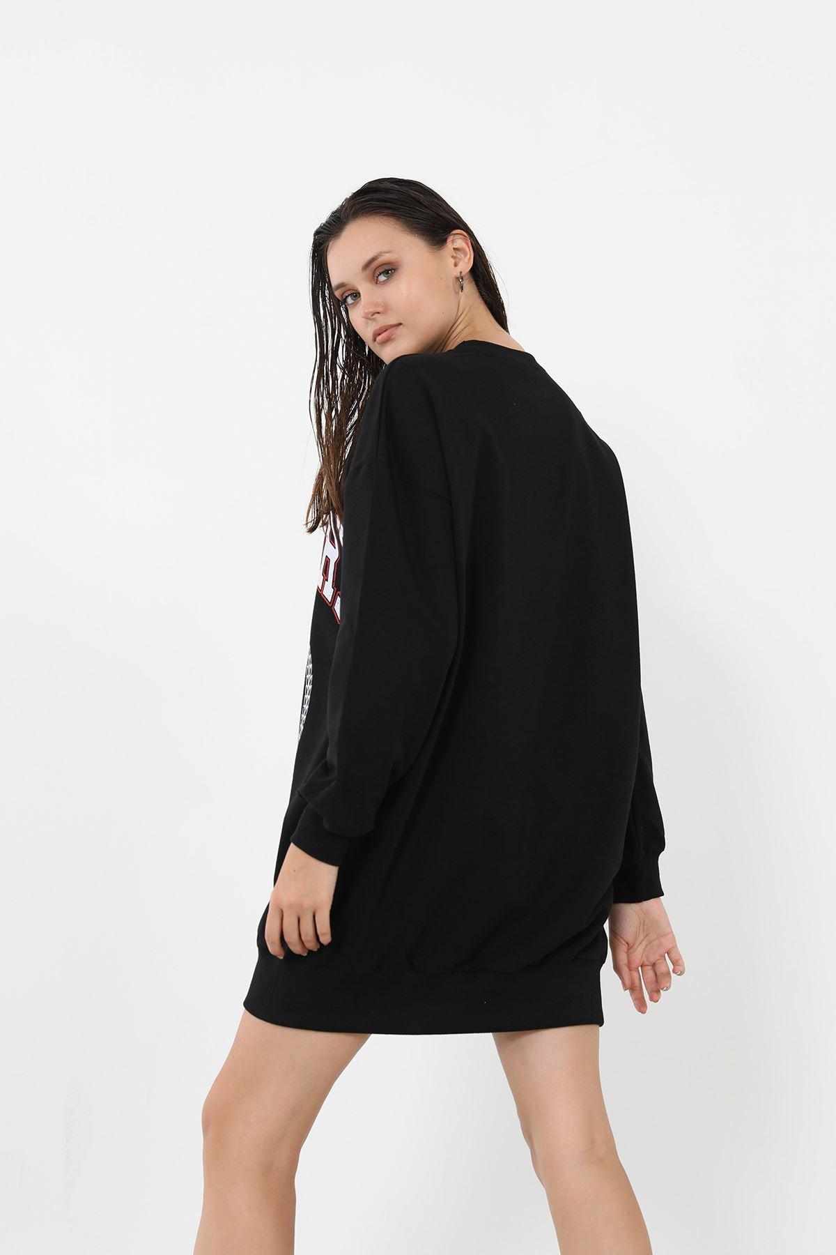 Baskılı Uzun Sweatshirt-Siyah