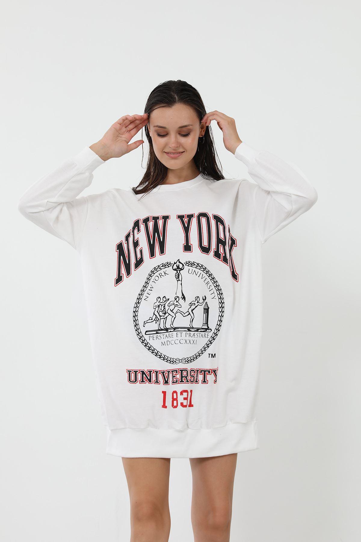 Baskılı Uzun Sweatshirt-Beyaz