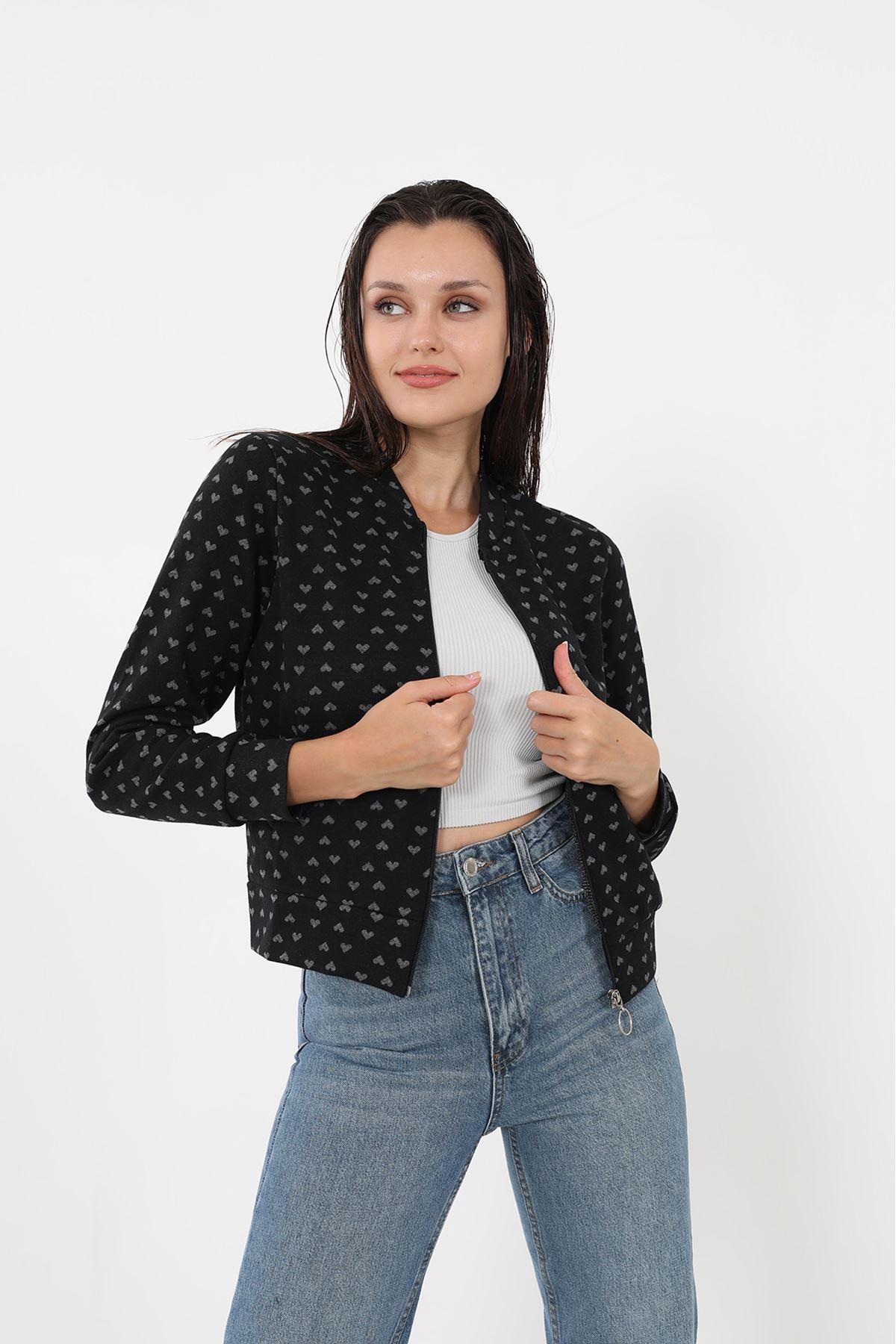 Fermuarlı Sweatshirt-Kalp