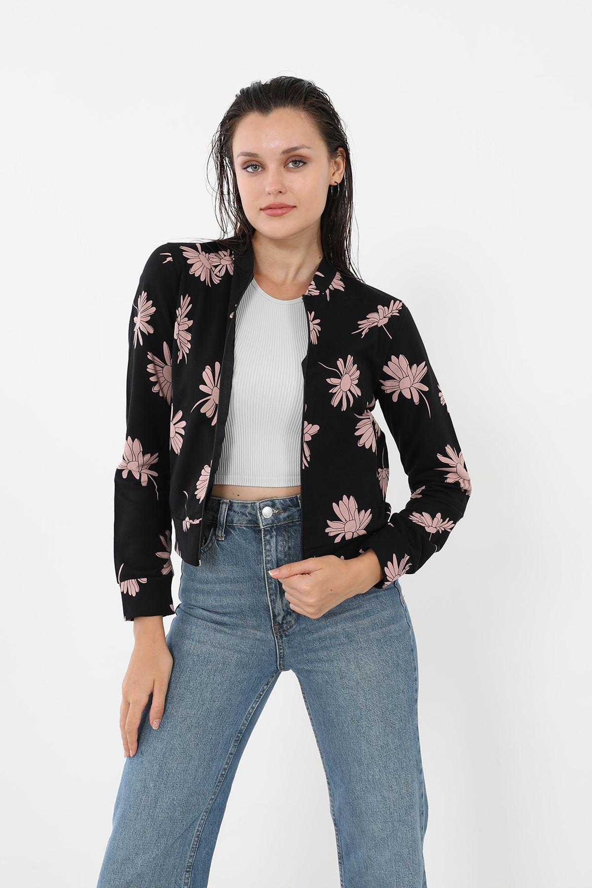 Fermuarlı Sweatshirt-Çiçek