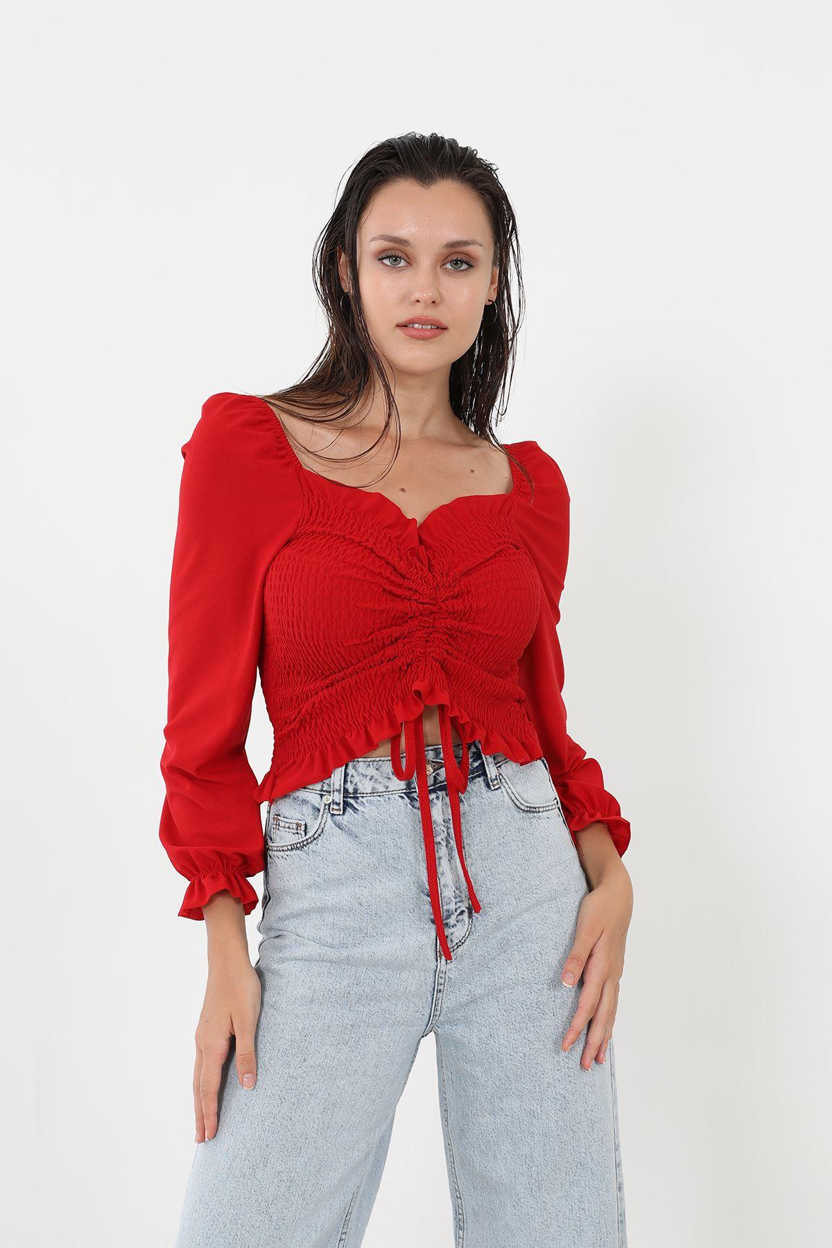 Gipeli Bluz-Kırmızı