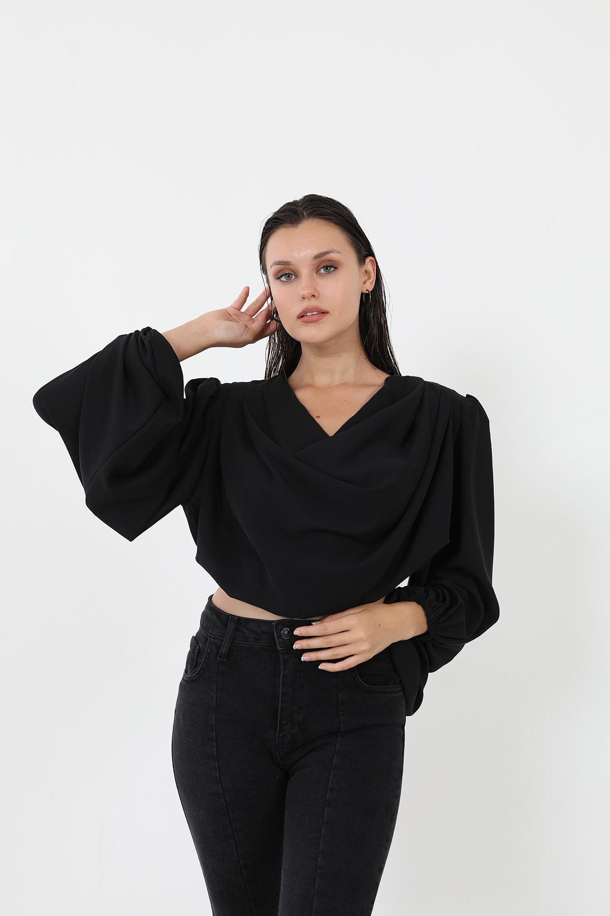 Omuz Gipeli Bluz-Siyah