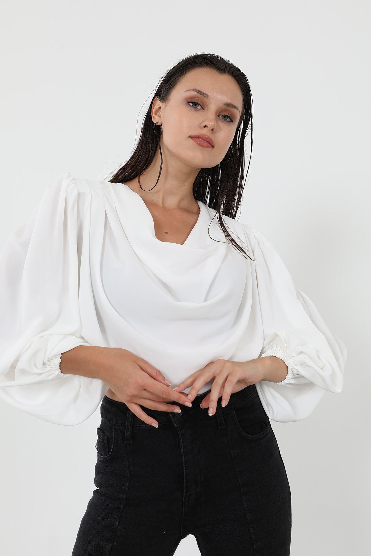 Omuz Gipeli Bluz-Beyaz