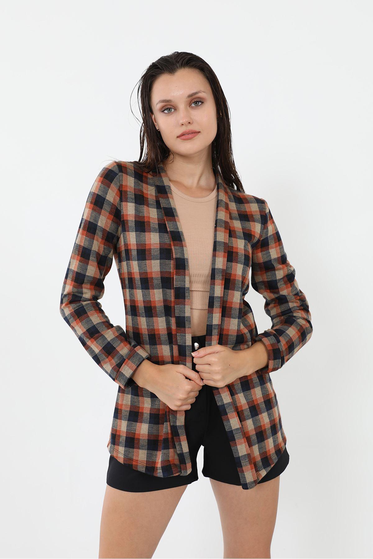 Şal Yaka Ceket-Ekose
