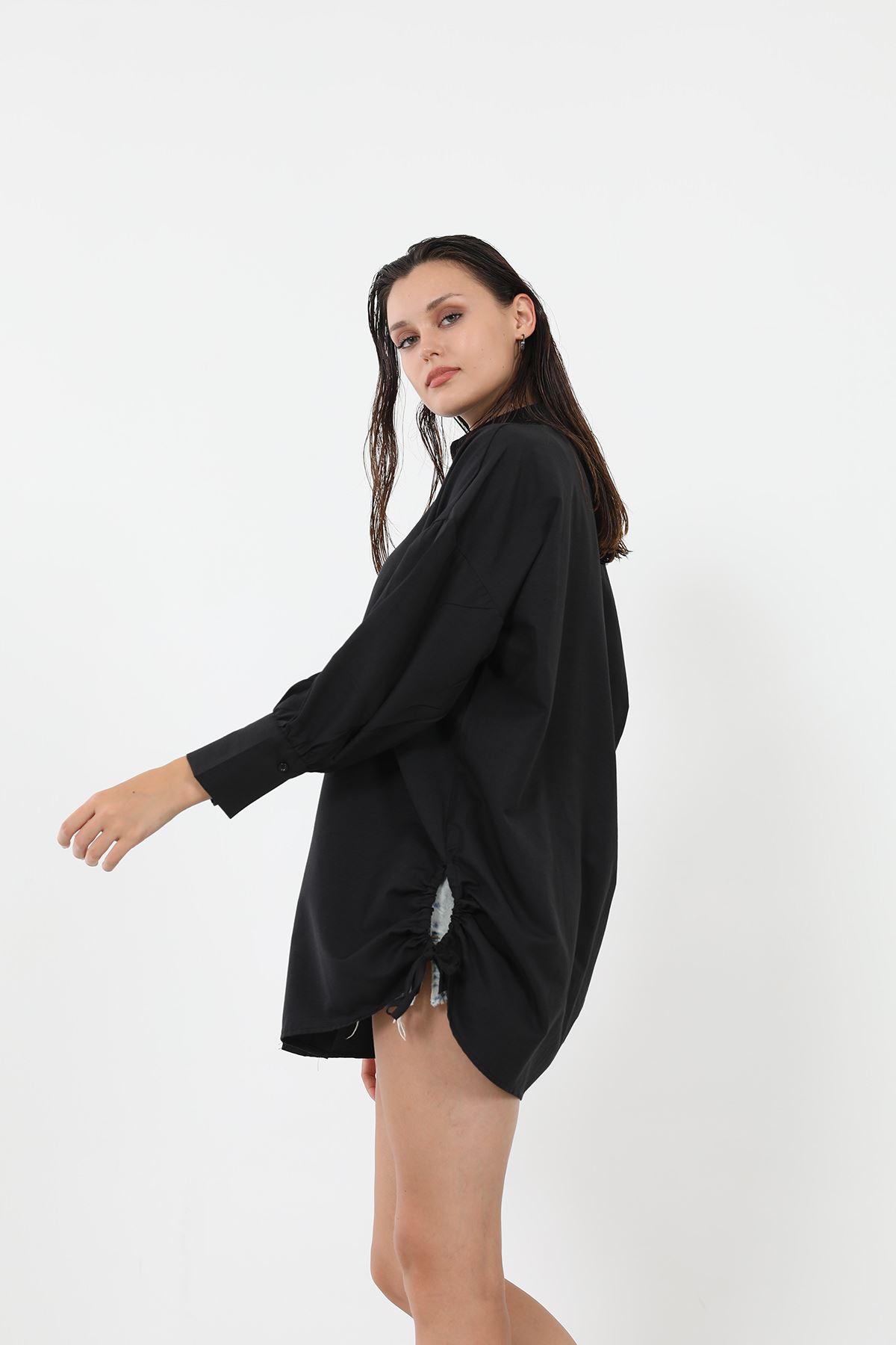 Yanları Büzgülü Gömlek-Siyah