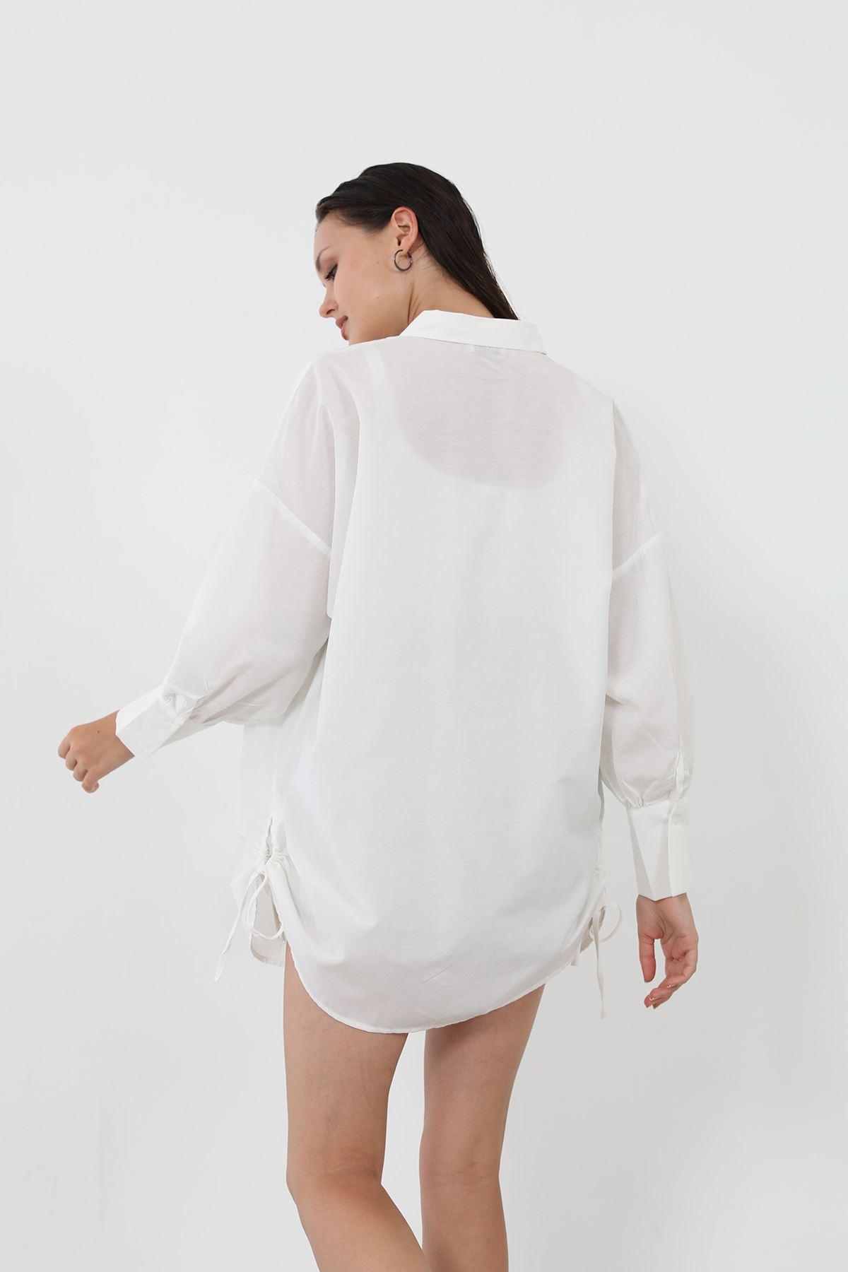 Yanları Büzgülü Gömlek-Beyaz