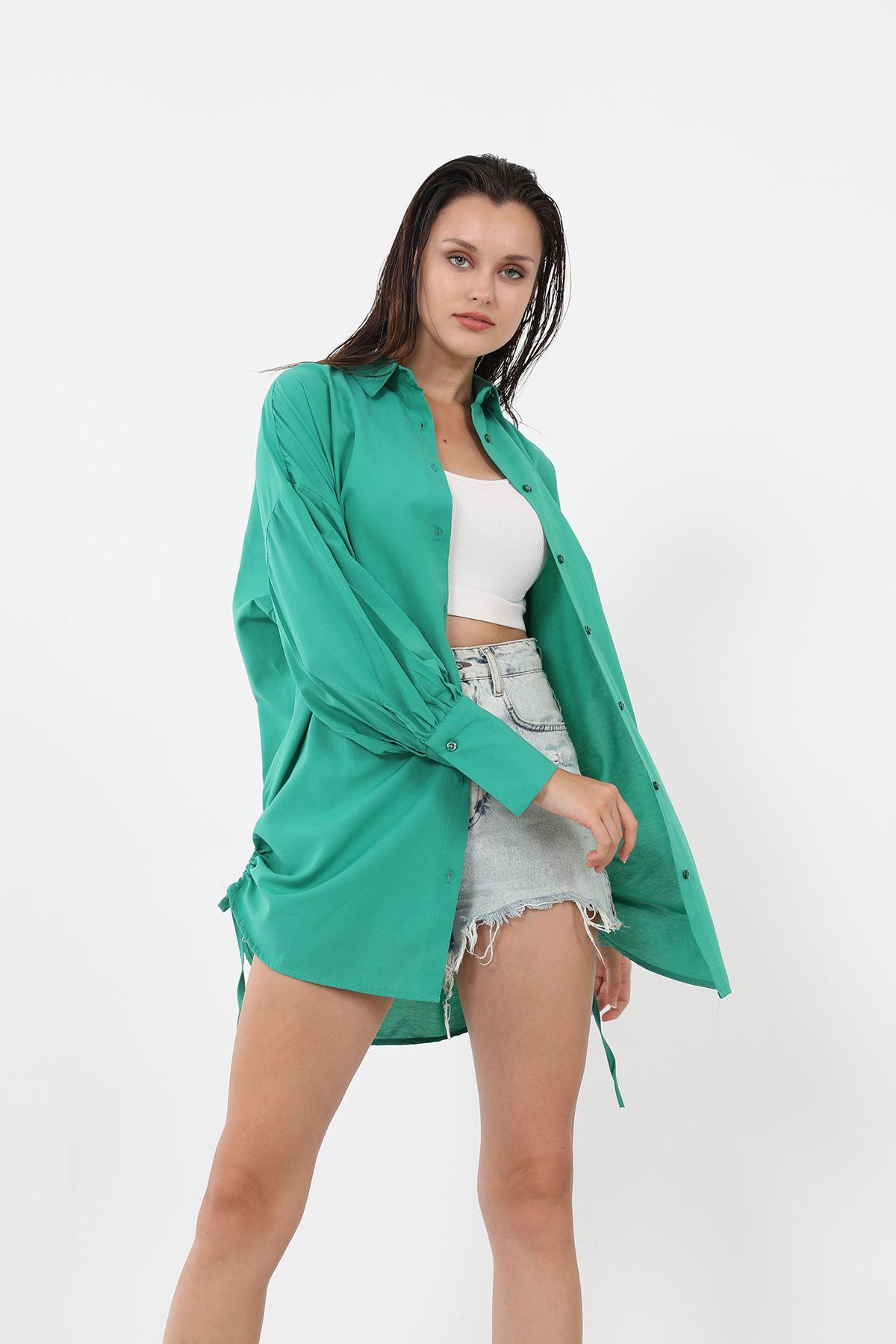 Yanları Büzgülü Gömlek-Yeşil