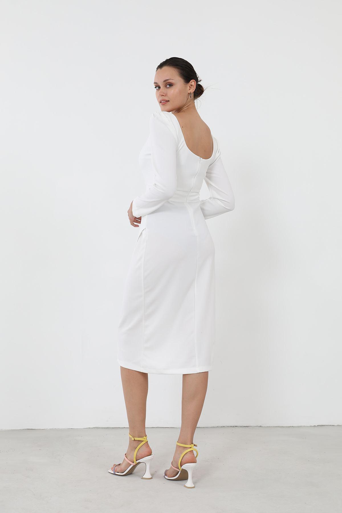 Yırtmaçlı Elbise-Beyaz