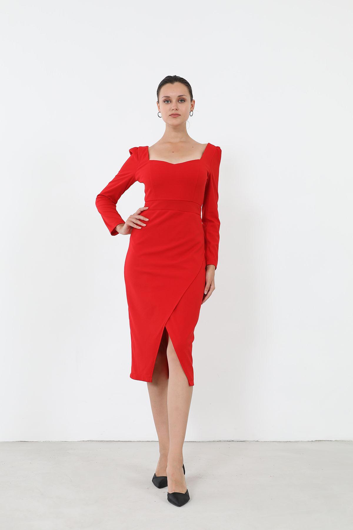 Yırtmaçlı Elbise-Kırmızı