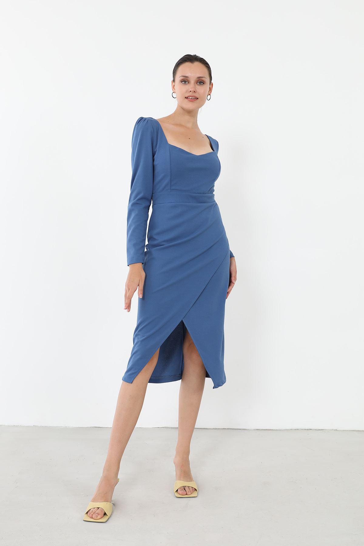 Yırtmaçlı Elbise-İndigo