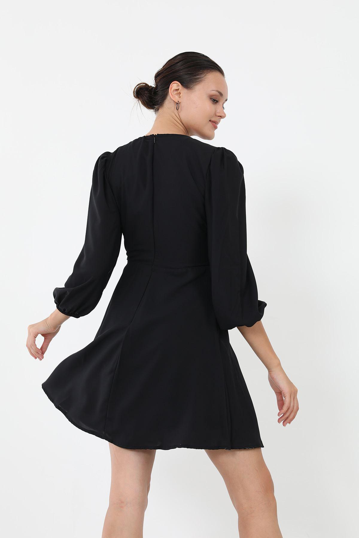 Bağlamalı Elbise-Siyah