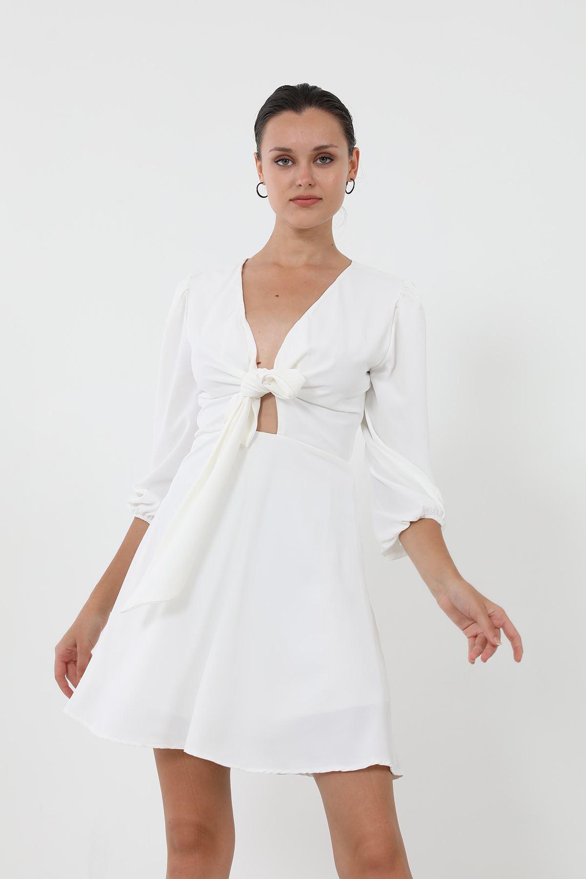 Bağlamalı Elbise-Beyaz