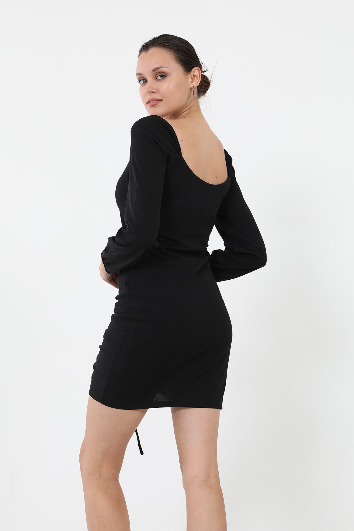Büzgülü Elbise-Siyah