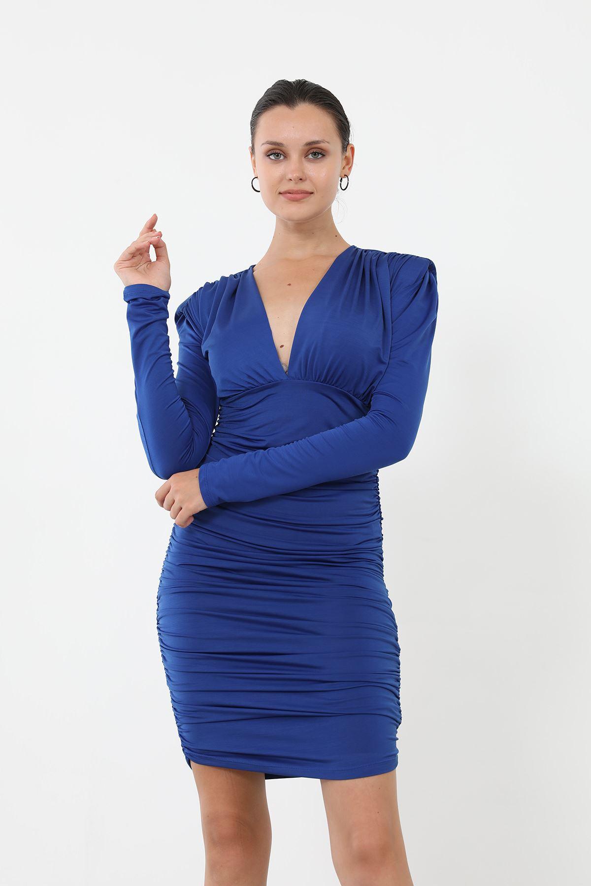 Vatkalı Büzgülü Elbise-Saks