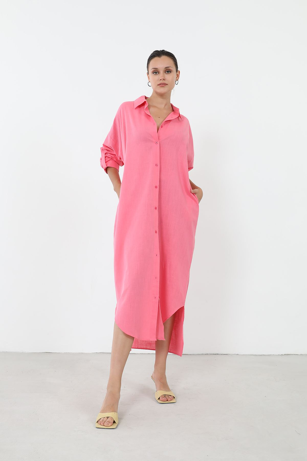 Polo Yaka Gömlek Elbise-Pembe