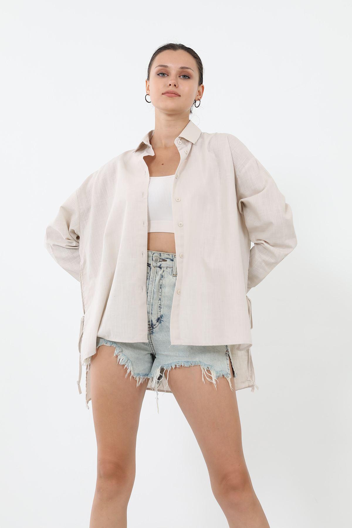 Bağcıklı Gömlek-Bej