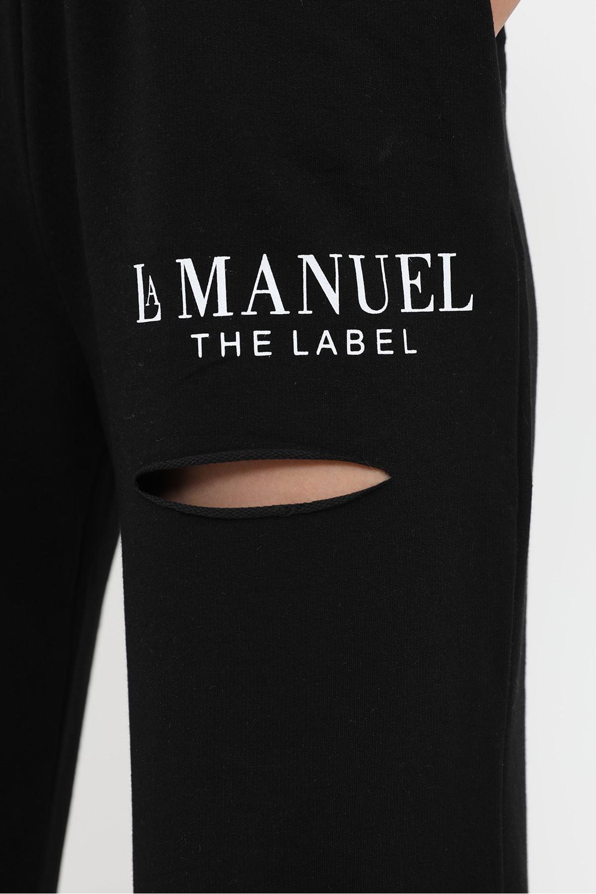 La Manuel Baskılı Eşofman Altı-Siyah