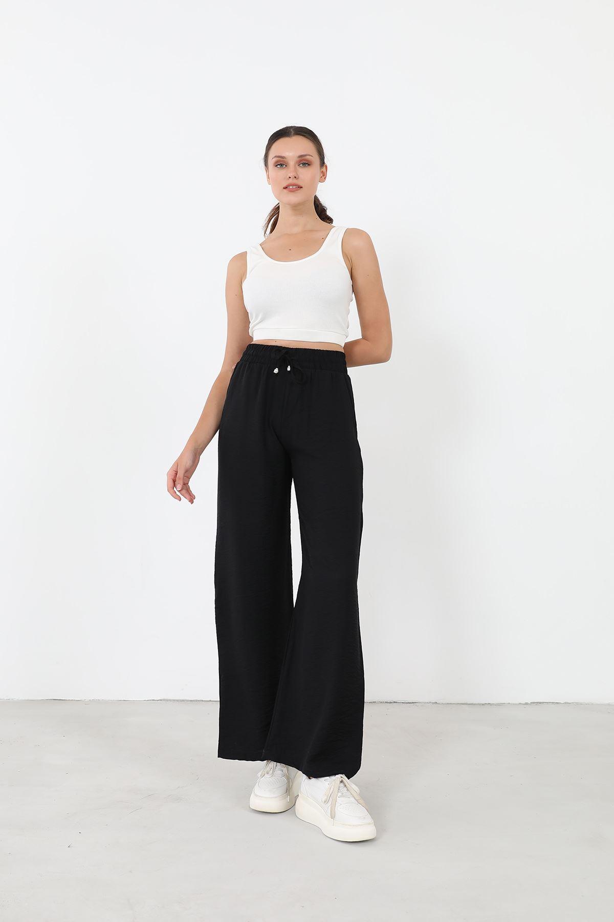 Bol Paça Pantolon-Siyah