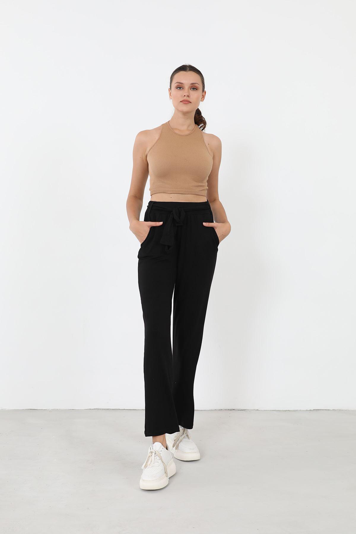 Kuşaklı Pantolon-Siyah