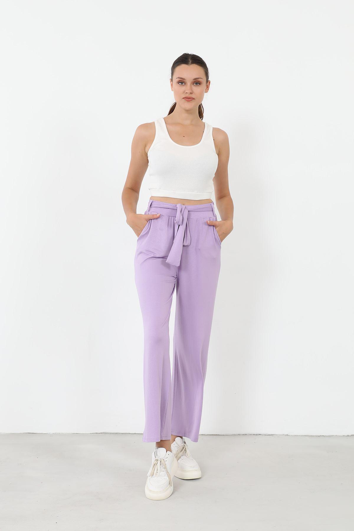 Kuşaklı Pantolon-Lila