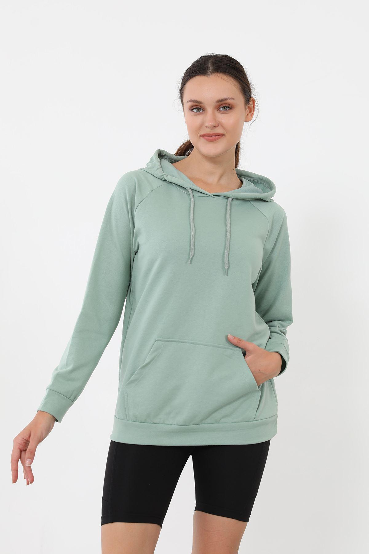 Kapşonlu Sweatshirt-Mint