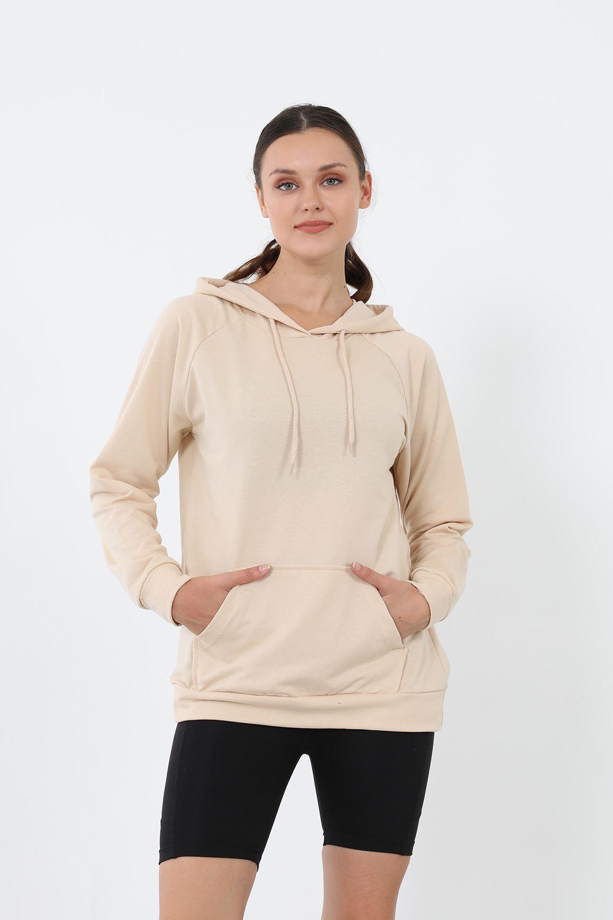 Kapşonlu Sweatshirt-Bej