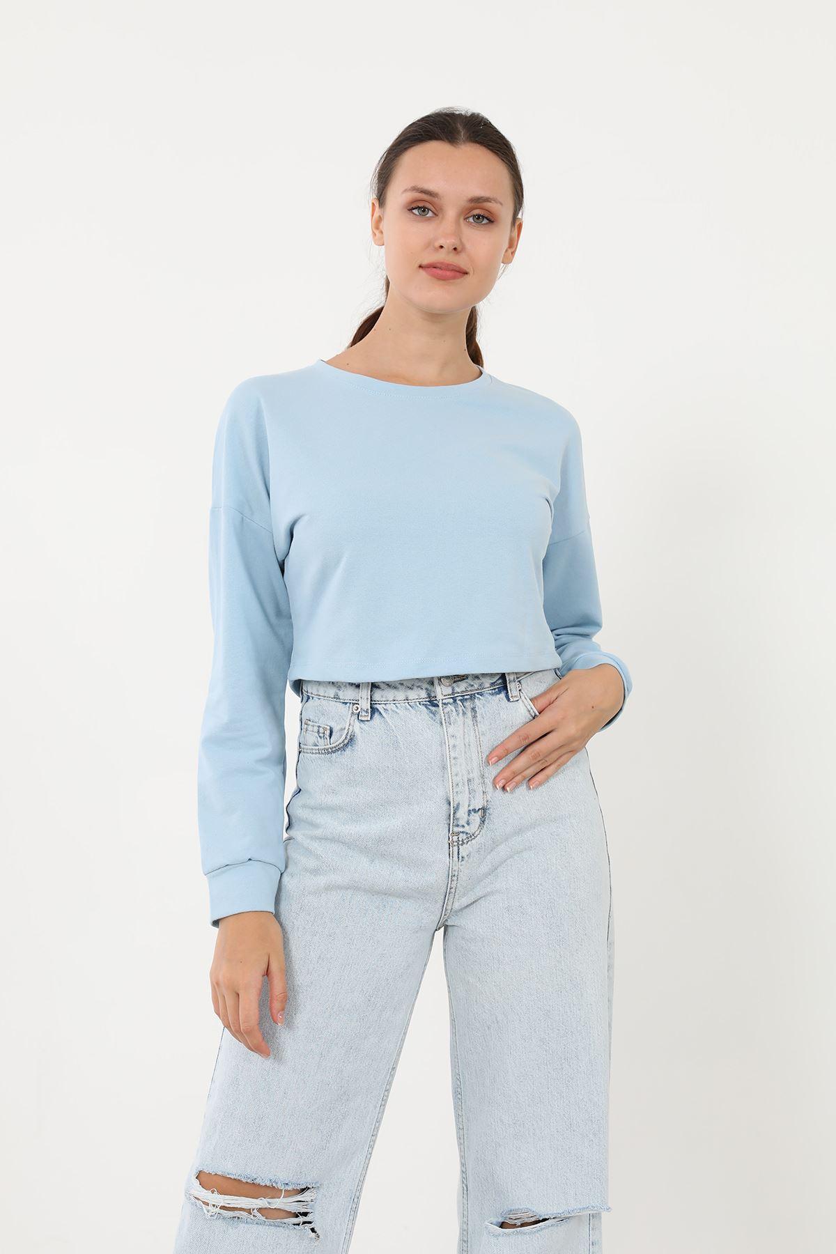 Crop Sweath-Mavi